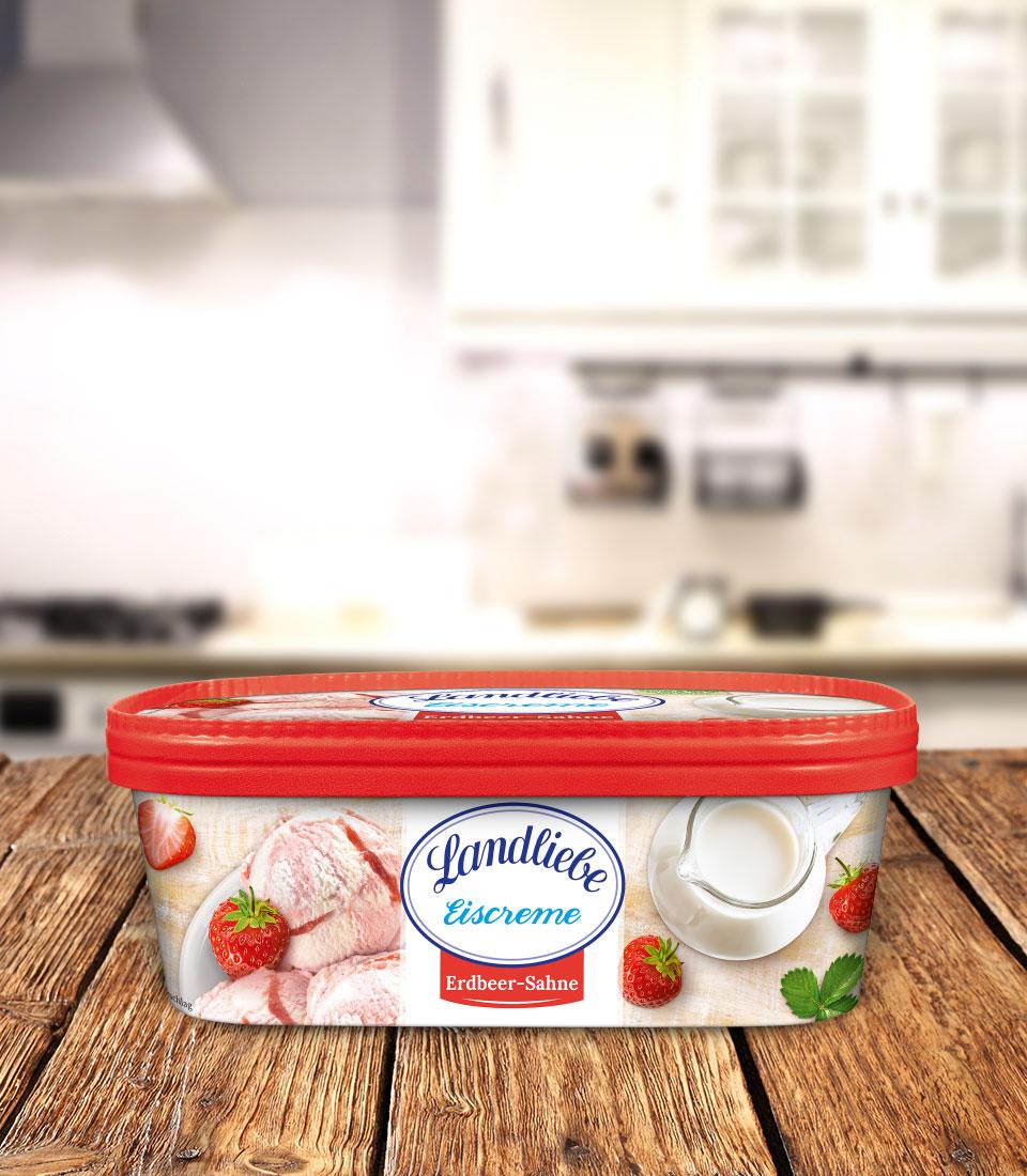 Landliebe Eiscreme Erdbeer-Sahne