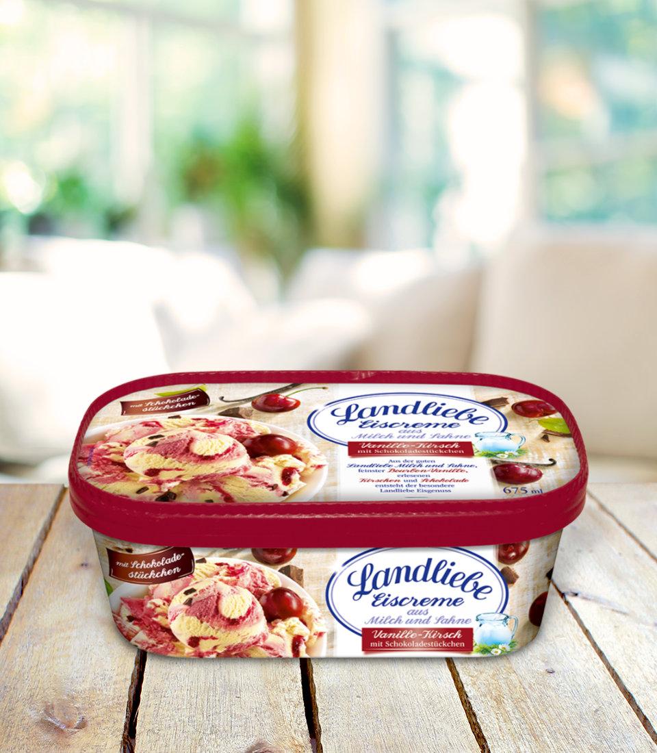 Landliebe Eiscreme Vanille-Kirsch