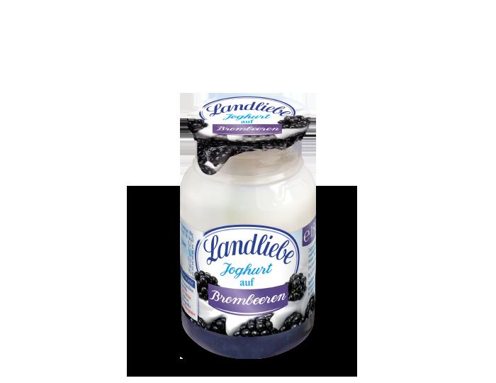 Landliebe Joghurt auf Brombeeren