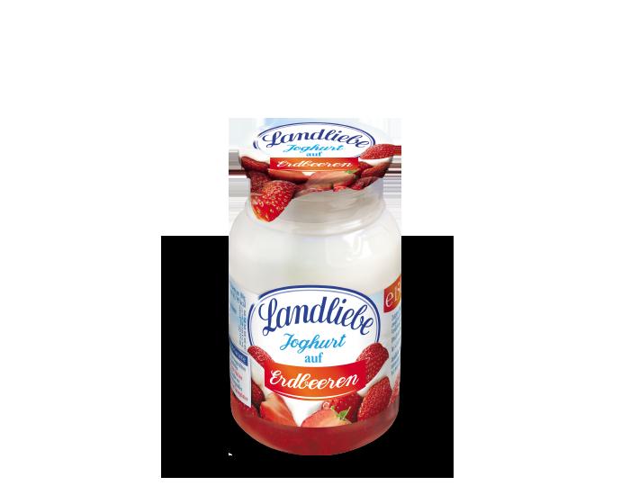 Landliebe Joghurt auf Erdbeeren