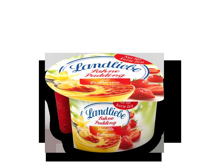 Landliebe Sahnepudding Vanille mit Erdbeere