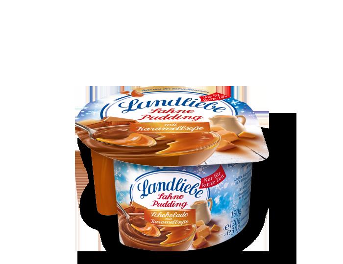 Landliebe Sahnepudding Schokolade mit Karamellsoße