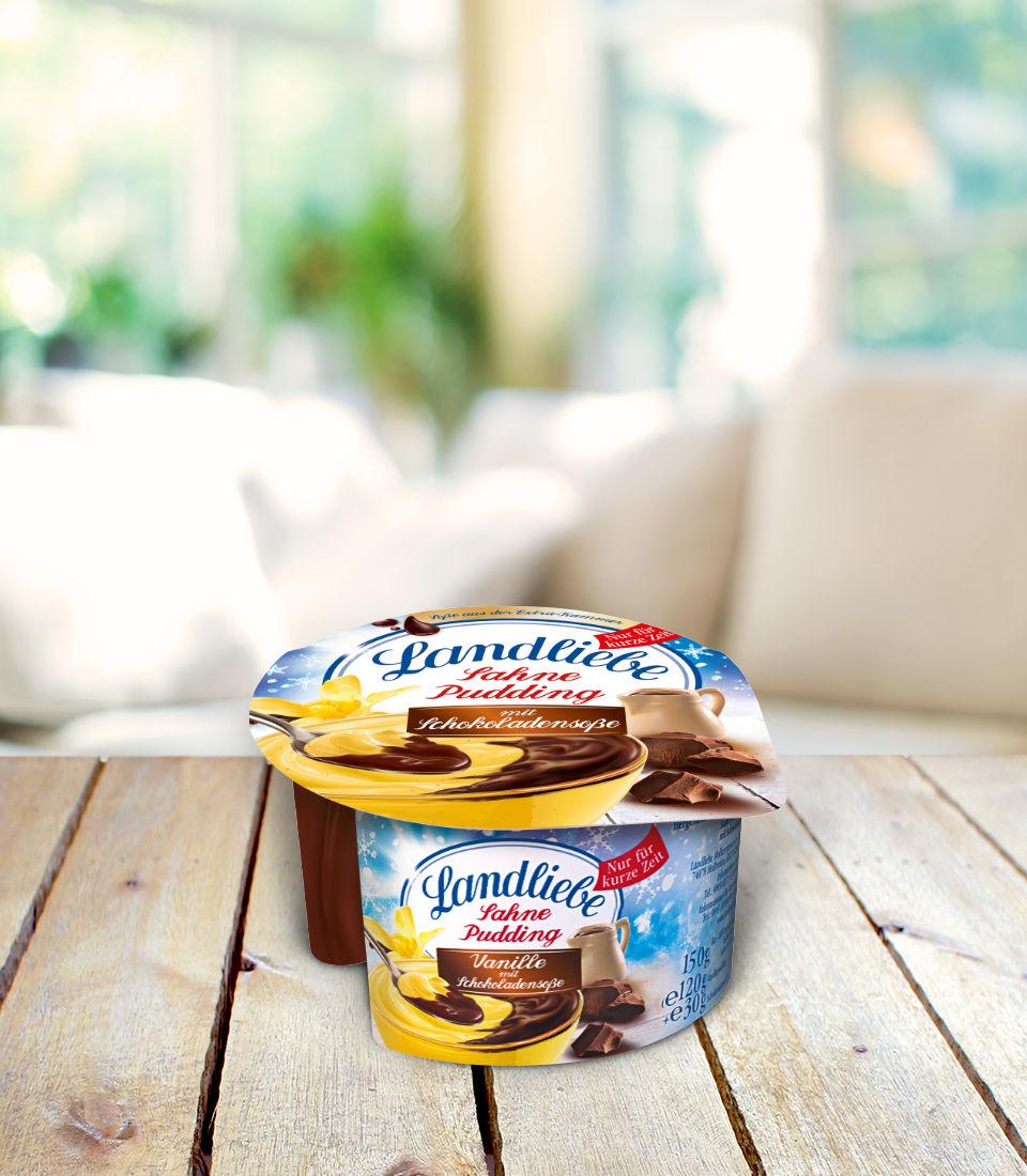 Landliebe Sahnepudding Vanille mit Schokoladensoße