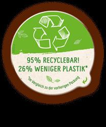 95% recyclebar! 26% weniger Plastik!